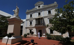 Throughout 2014, the monks of New Norcia are planning to commemorate the bicentenary of the birth of their founder, Dom Rosendo Salvado: A monk walks through the monastery courtyard. Pic: Michael Wilson, WA News, 20th February 2014.